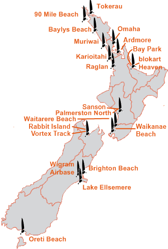 New Zealand Blokart Venues Map
